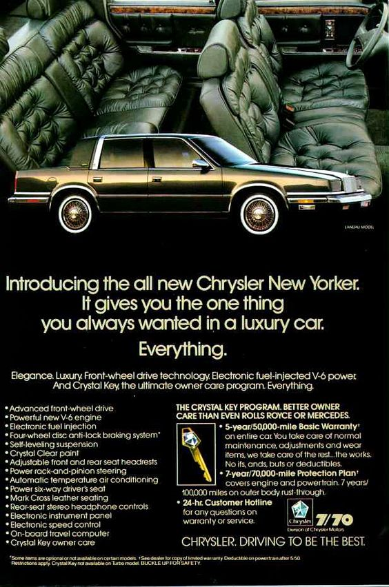 1988 Chrysler New Yorker Four Door Sedan. At the time this was a rather nice, modern American sedan. Chrysler sure did go all out on the tufted seats! Remember the 7/70 warranty? You're lucky to get 4/48 today.....