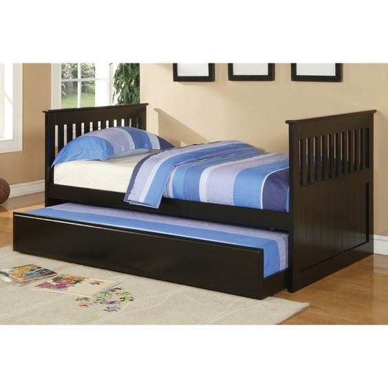 poundex twin bed w trundle f9050 811 by new furniture 4 less