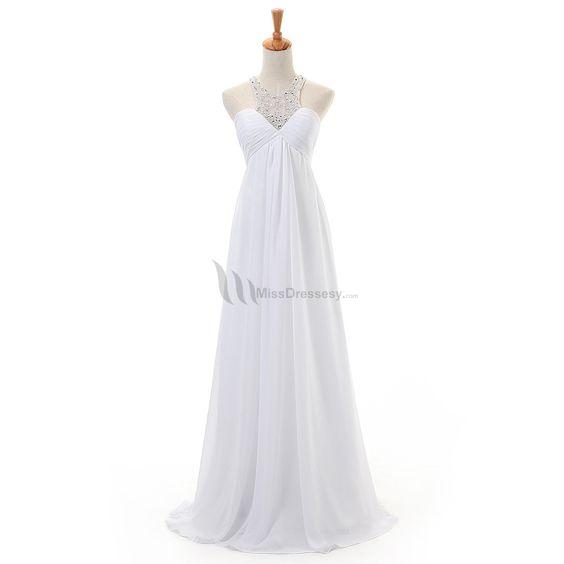 Buy hot sale Long Elegant White Sweetheart Beading Embellishing Cheap Chiffon Evening / Prom Dress Elegant Evening Dresses under $119.99 only in MissDressesy.
