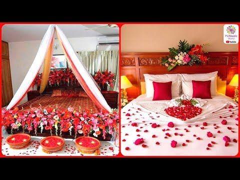Romantic Wedding Marriage Room Decoration Ideas Bridal First Night Bedroom Decorations 2018 Youtub Wedding Room Decorations Wedding Bedroom Romantic Decor