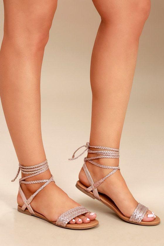 Clarke Rose Gold Flat Lace-Up Sandals