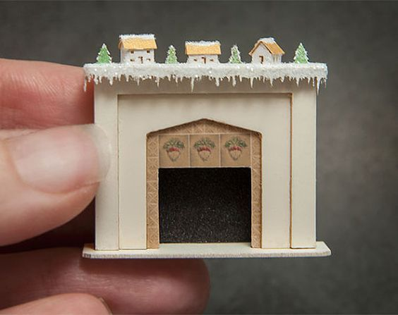 148 Fireplace with Glitter Houses Kit by true2scale on Etsy, $24.00