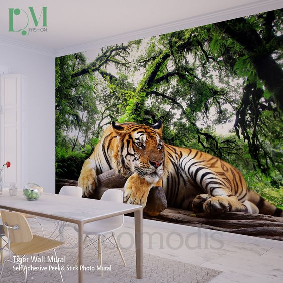 tiger wall mural wild tiger self adhesive peel stick