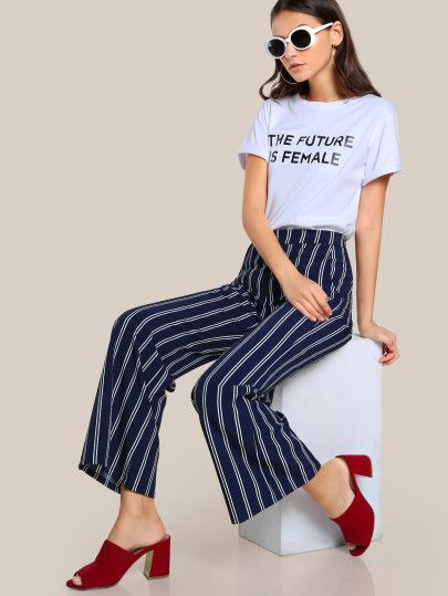 Striped Wide Leg Tailored Pants -SheIn(Sheinside)
