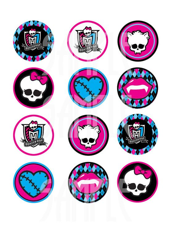 Monster High Cupcake Toppers  Printable  Monster High Cupcakes