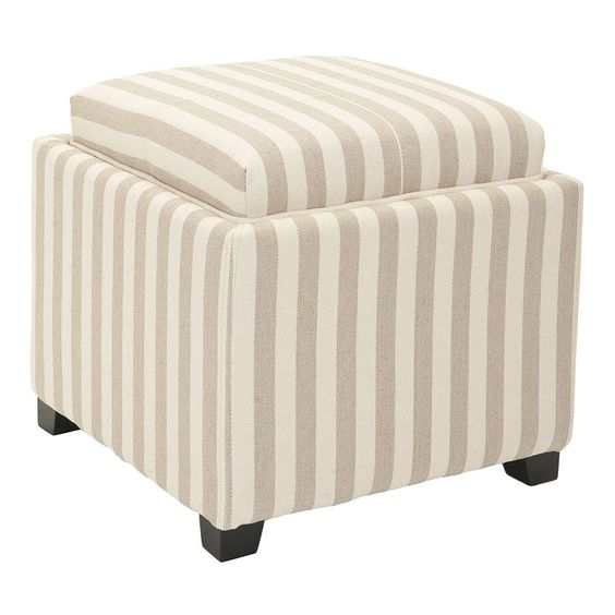 Safavieh Bennett Square Striped Single Tray Storage Ottoman, Beig/Green (Beig/Khaki)