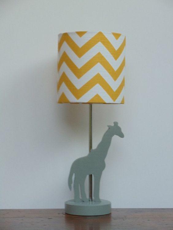 Small Yellow/White Chevron Drum Lamp Shade  door PerrelleDesigns