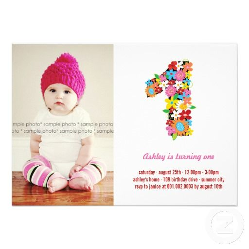 Spring Flowers One Baby Girl First Birthday Photo Personalized ...