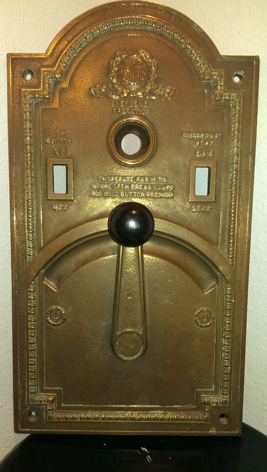 Old Control Panel Levers : Antique otis elevator bronze emergency operation control