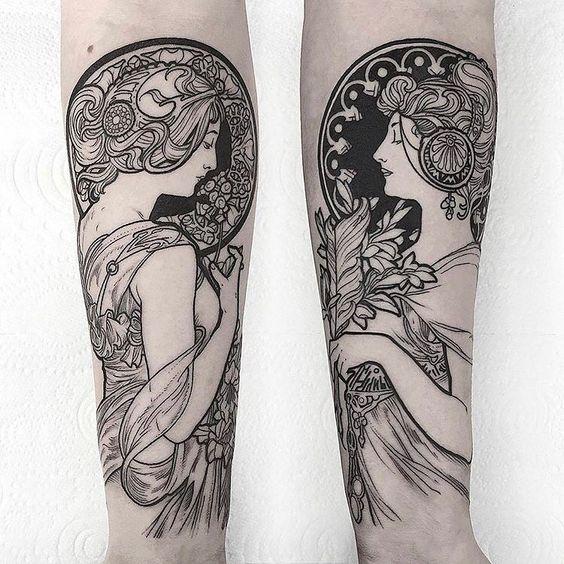 "BODYART MAGAZINE on Instagram: ""A. Mucha forearm tattoos @thomasbatestattoo ______ #tätowierung #tätowierungen #tatuaggio #tatuaggi #tatuajes #tatouages #tatouages…"""
