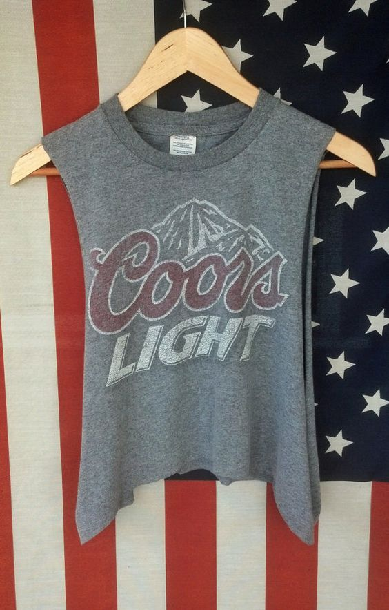 Vintage Upcycled Coors Light Muscle Tank Crop Top by AmericanBones, $25.00