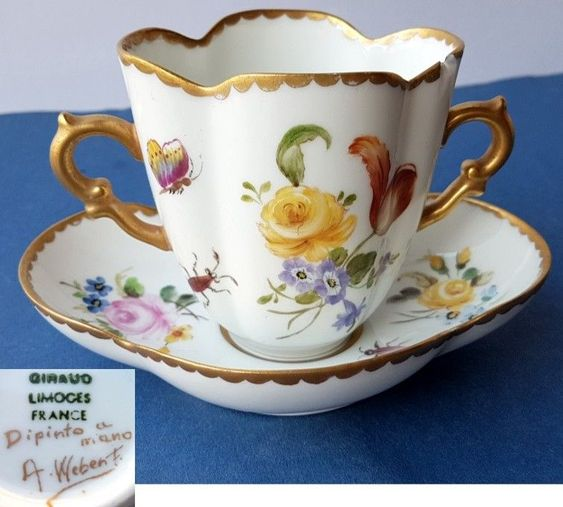 Cup+Saucer, Limoges France, Hand Painted, Signed, Um 1900 K304