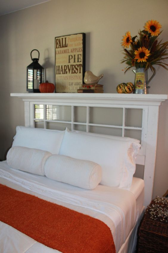 Love, love, love my new headboard made from a vintage window!
