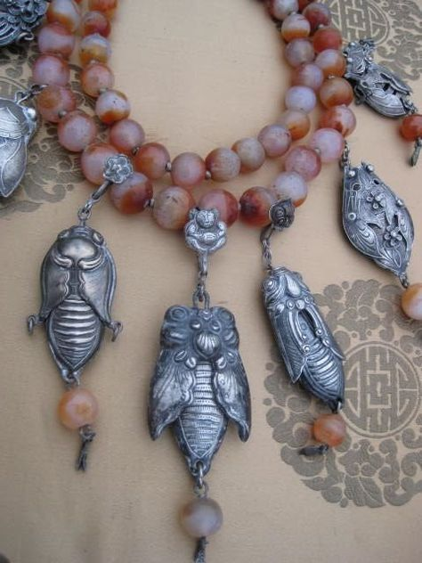 Chinese Antique Cicada needlecase Necklace, carnelian & silver