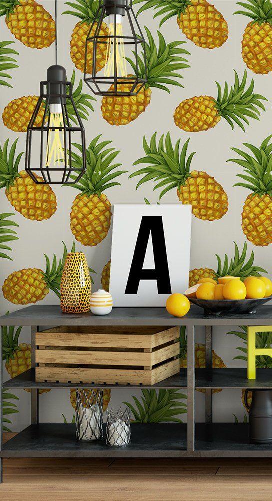 Pineapple Wallpaper Removable Wallpaper Peel And Stick Wallpaper Tropical Wallpaper Self Adhesiv Pineapple Wallpaper Tropical Wallpaper Removable Wallpaper