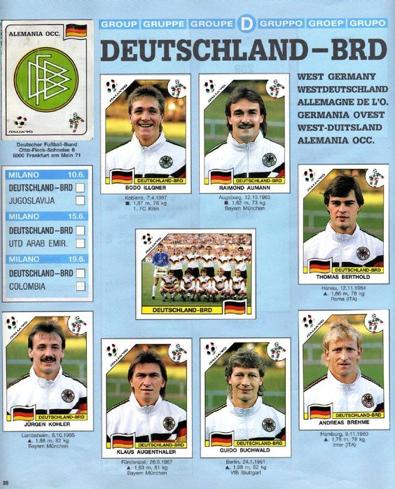 West Germany, with best defence in the tournament!  Panini World Cup 1990 - Italia