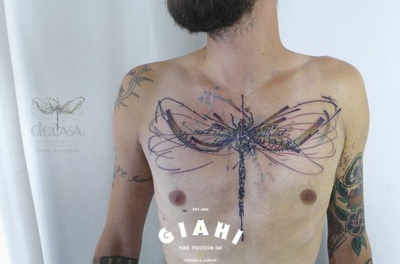 Chest Dragonfly tattoo by Carola  Deutsch