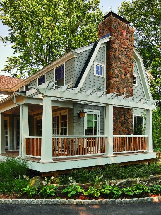 Rustic cedar screened porch and deck design pictures for Side porch designs