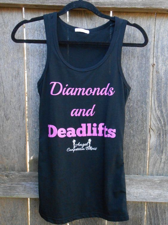 Diamonds and Deadlifts workout fitness tank by by NpcAngelBikinis