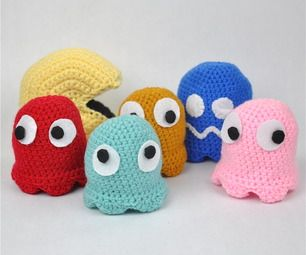 Crochet Pac-Man and Ghosts #crochet #pacman #craft