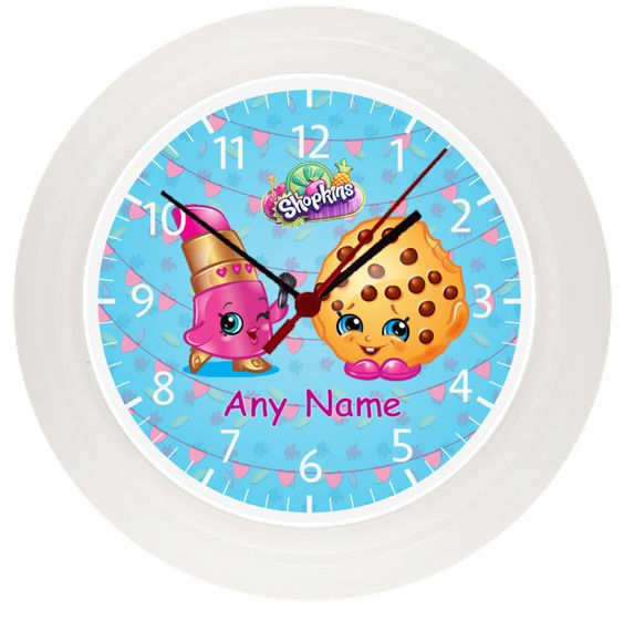 personalised shopkins wall clock childrens bedroom gift
