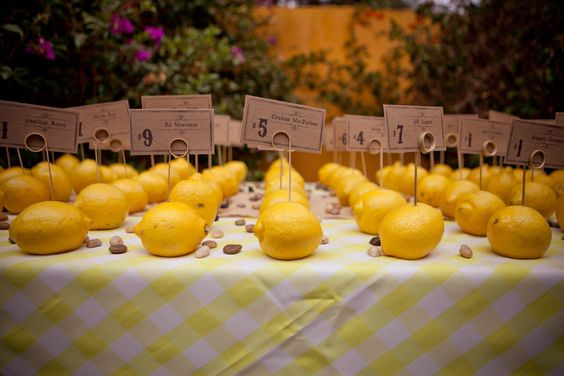 Lemons in the Escort Card Display ~ Photography by the-wu.com viewed.ca: Wedding Decoration, Place Card, Wedding Ideas, Escort Card, Ideas Bautizo, Card Ideas