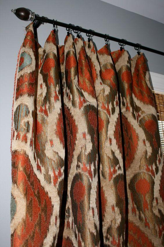 Terracotta Teal Gold Beige Ikat Curtain Panels Custom Designer