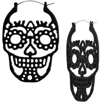Black Sugar Skull Tunnel Plug Earring Set   Body Candy Body Jewelry