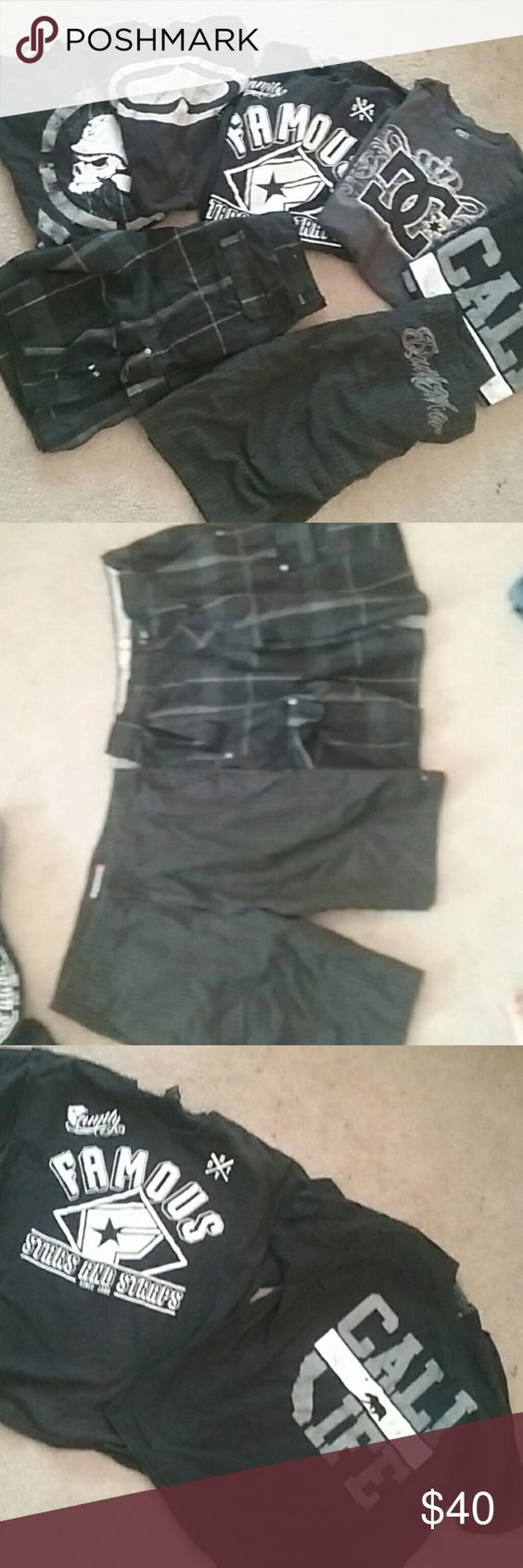 Guys L/xL bundle 34 shorts Shirts are SRH, metal mulisha, dc, famous stars.  shorts are quicksilver and op brand both size 34 all good gently used condition Famous Stars & Straps Shirts Tees - Short Sleeve