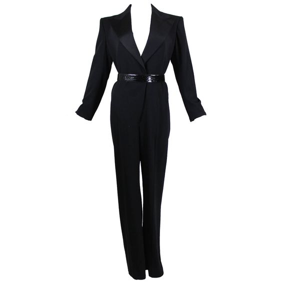 YSL Classic Black Wool Gabardine Tuxedo Jumpsuit | From a collection of rare vintage evening dresses at https://www.1stdibs.com/fashion/clothing/evening-dresses/