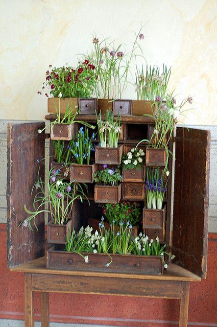 Que original, muy linda forma de lucir muebles que ya no utilizamos, colocando macetitas con flores.