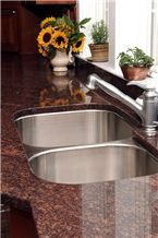 Polished Dakota Mahogany Granite Countertop & Ss Sink Kitchens ...