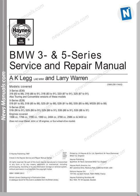 Bmw E30 E28 E34 Repair Manual Repair Manuals Repair Bmw E30