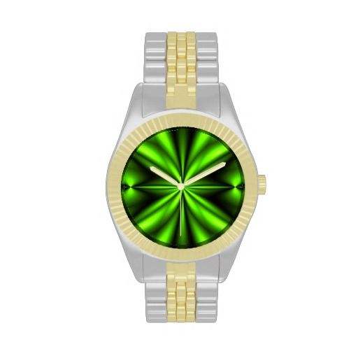 Neon Green Abstract Fractal Watch