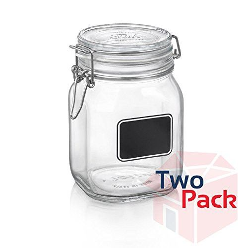Bormioli Rocco Fido Square Clear Jar With Chalkboard 33 3 4 Ounce Pack Of 2 With Images Glass Food Storage Jar