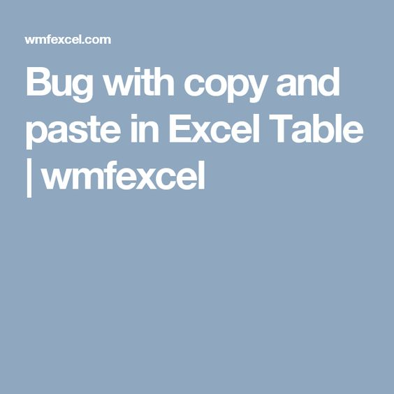 Bug with copy and paste in Excel Table wmfexcel informatique