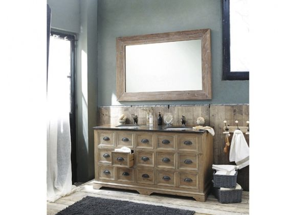 D corations de photos lavabos doubles and viers on pinterest for Meuble salle de bain ancien en bois