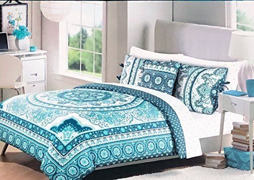 Cynthia Rowley Bedding 3 Piece Full Queen Size Duvet Comforter Cover Set Round Vintage Boho Medallion H Cynthia Rowley Bedding Comforter Cover Queen Size Duvet