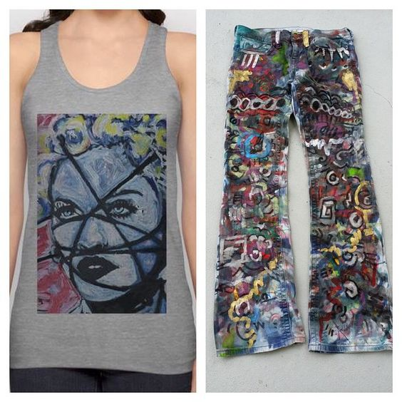 Art on a tank top, printed by Society6 and hand painted jeans, both by Matt Pecson