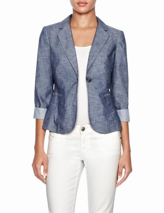 The perfect summer jacket - Chambray One-Button Jacket | Women's ...