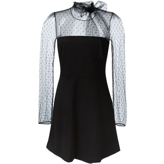Red Valentino sheer tulle panel dress (160 KWD) ❤ liked on Polyvore featuring dresses, black, see through dress, transparent dress, sheer dress, sheer panel dress and sheer cocktail dress