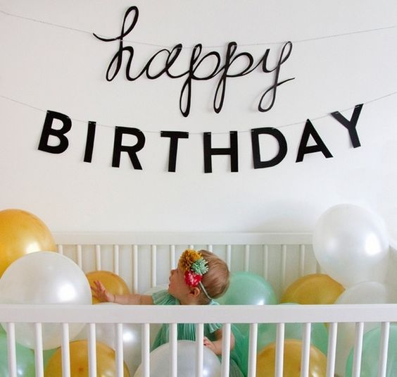 1st birthday party decorations wall banner colorful balloons baby crib