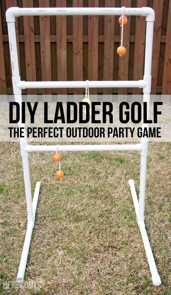 "DIY Ladder Golf - An Easy Tutorial for the Perfect Party Game via Here Comes the Sun ""Ladder Golf is a great outdoor game. Play it with your family or with a crowd. It is perfect for parties. Easy to make with this tutorial."" #diyladdergolf #laddergolf #backyardgames #diyoutdoorgames #barbecuegames #barbecueideas #backyardpartygames #partygames #outdoorgames #diygames #yardgames #diyyardgames #summergames #summerparty #party #4thofJuly #fathersday #cookoutgames"