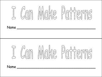 i can make patterns book for kindergarten or first grade kindergarten colors and student. Black Bedroom Furniture Sets. Home Design Ideas