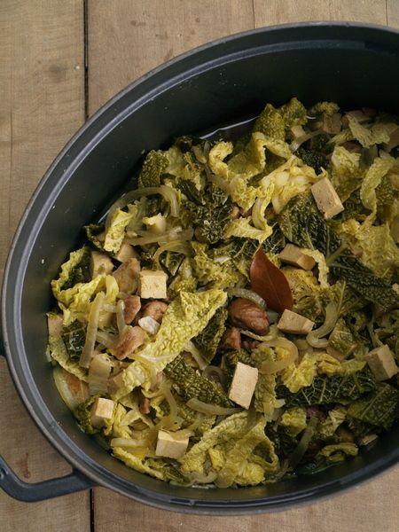 Potée de chou vert à la châtaigne et au tofu (vegan/sans gluten)