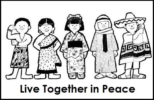 Multicultural Diversity Together In Peace Coloring Page Quote Coloring Pages Coloring Pages Bear Coloring Pages