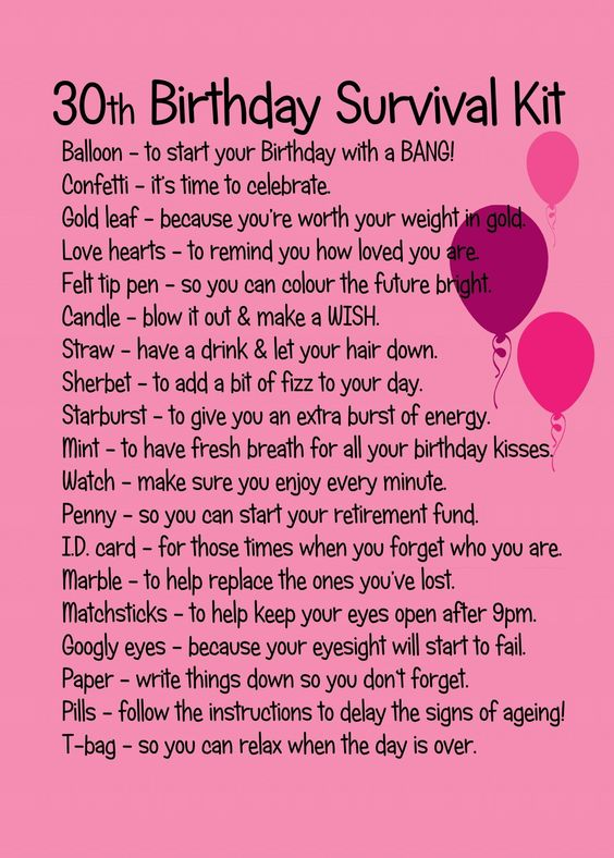 30TH BIRTHDAY SURVIVAL KIT PINK
