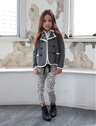cute small little girl preppy style fashion clothes grey blazer ...