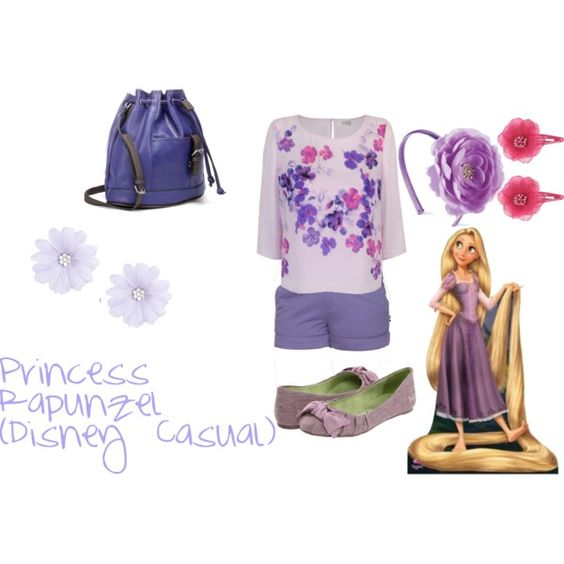 """Princess Rapunzel (Disney Casual)"" by amieebee on Polyvore. I WOULD MAKE THE SHORTS MORE MODEST."