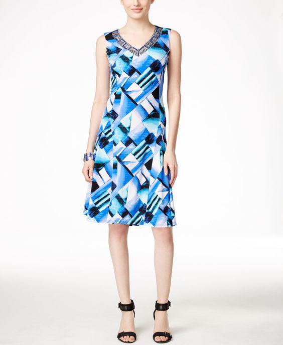 Jm Collection Sleeveless Printed A-Line Dress